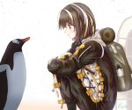 1girl arknights backpack bag belt bird blush brown_hair closed_mouth eyebrows_visible_through_hair formal from_side highres long_sleeves magallan_(arknights) orange_eyes penguin rino_rea short_hair smile snow solo squatting suit white_hair