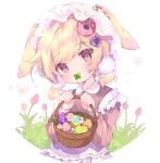1girl animal_ears bangs basket blonde_hair blush brown_dress brown_eyes clover collared_dress commentary_request covered_mouth dress ears_through_headwear easter easter_egg egg eyebrows_visible_through_hair flower four-leaf_clover hair_between_eyes hair_flower hair_ornament hands_up hat head_tilt holding holding_basket long_sleeves low_twintails mob_cap original pink_flower purple_flower rabbit_ears red_flower short_twintails solo suzuhara_(13yuuno) twintails white_background white_headwear