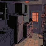 1girl ashleyloob backlighting black_hair bottle bowl cabinet ceiling counter cupboard facing_to_the_side frying_pan hands_in_hair hands_on_own_head indoors kitchen light no_pants original oven panties pot refrigerator sink slippers solo stove tank_top tile_ceiling tile_floor tiles underwear window