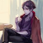 1boy black_hair black_pants black_shirt brown_jacket coffee_mug coffee_talk collarbone crossed_legs cup hashiko_(neleven) holding holding_cup hyde_(coffee_talk) jacket jacket_on_shoulders mug multicolored_hair pants purple_skin red_eyes shirt simple_background sitting solo table unbuttoned unbuttoned_shirt vampire