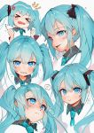 >_< anger_vein aqua_hair blue_eyes clenched_hands commentary_request expressions face furrowed_eyebrows gotoh510 hatsune_miku highres long_hair looking_at_viewer necktie portrait pout pouty_lips smile twintails vocaloid