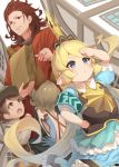 animal_ears arm_up bag baguette bare_shoulders belt belt_buckle blonde_hair blue_dress blue_gloves blush bread brown_belt brown_eyes brown_hair brown_headwear buckle building cabbie_hat character_request charlotta_fenia closed_mouth crown day dress dutch_angle elbow_gloves erune food gloves granblue_fantasy grey_shirt grocery_bag hand_on_hip harvin hat holding holding_bag long_hair long_sleeves mini_crown o_(rakkasei) outdoors paper_bag pleated_dress puffy_short_sleeves puffy_sleeves red_shirt shirt shopping_bag short_sleeves smile very_long_hair window