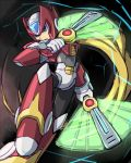 1boy android armor blonde_hair blue_eyes energy_weapon fan_blade fighting_stance helmet holding long_hair male_focus nasu_(roda_de_estrela) ponytail robot rockman rockman_x solo very_long_hair weapon zero_(rockman)