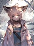 1girl animal_ear_fluff animal_ears arknights blue_eyes cloak expressionless fox_ears highres light_brown_hair rimsuk short_hair sussurro_(arknights) tree tree_branch tree_shade