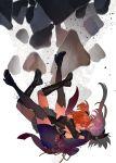 2girls boots crying falling fate/grand_order fate_(series) fujimaru_ritsuka_(female) highres hug jojo_sono miyamoto_musashi_(fate/grand_order) multiple_girls orange_hair pink_hair side_ponytail thigh-highs waist_bow