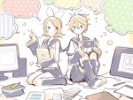 1boy 1girl arm_warmers bangs bare_shoulders black_collar black_shorts black_sleeves blonde_hair blue_eyes book bookmark bow collar commentary crop_top eighth_note hair_bow hair_ornament hairclip hand_up handheld_game_console headphones holding holding_folder holding_handheld_game_console holding_pen kagamine_len kagamine_rin knees_up leg_warmers looking_at_viewer monitor musical_note musical_note_print neckerchief necktie nintendo_switch paper pen polka_dot sailor_collar school_uniform shirt short_hair short_ponytail short_shorts short_sleeves shorts shoulder_tattoo sitting sleeveless sleeveless_shirt sparkle speaker speech_bubble spiky_hair striped suzumi_(fallxalice) swept_bangs tattoo thought_bubble vocaloid wariza white_bow white_shirt yellow_neckwear