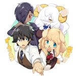 1boy 3girls :3 animal_ears aqua_eyes bird black_hair blonde_hair blue_eyes blue_neckwear blush breasts commentary_request crow dark_skin dog dog_ears dog_girl furry gem glasses hair_ornament hairclip holding_hands horns kishibe long_hair looking_at_another looking_at_viewer multiple_girls necktie open_mouth original sheep_ears sheep_girl sheep_horns short_hair simple_background smile sweatdrop translation_request white_background white_hair wings yellow_eyes