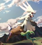 blue_sky clouds cloudy_sky commentary creature day english_commentary full_body gen_7_pokemon highres jumping legendary_pokemon looking_at_viewer mountain no_humans outdoors pinkgermy pokemon pokemon_(creature) rock running shadow silvally sky solo