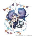 1girl anklet aqua_eyes barefoot building_block dress earrings fins full_body instrument instrument_request jewelry ji_no long_hair looking_at_viewer mermaid monster_girl music nightmare_(sinoalice) ningyo_hime_(sinoalice) official_art playing_instrument purple_hair sailor_collar sinoalice solo square_enix toy_car very_long_hair water white_background younger