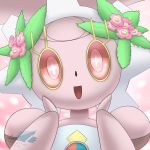 2016 :d commentary creature english_commentary face flower gen_7_pokemon happy head_tilt highres magearna magearna_(normal) mythical_pokemon no_humans open_mouth pink_eyes pokemon pokemon_(creature) signature smile sol-lar-bink solo