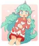 1girl animal_ears blush bright_pupils commentary_request cropped_legs curly_hair fang feet_out_of_frame green_eyes green_hair hands_up horn ini_(inunabe00) komano_aun long_hair long_sleeves looking_at_viewer open_mouth paw_pose pink_background print_shorts red_shirt shirt shorts smile solo tail touhou white_pupils white_shorts