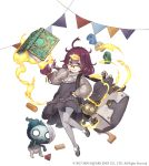 1girl ahoge bag blue_eyes book building_block dorothy_(sinoalice) dress frills full_body glasses grin hair_ornament hairclip ji_no long_hair looking_at_viewer messy_hair nightmare_(sinoalice) official_art over-rim_eyewear pantyhose purple_hair semi-rimless_eyewear shoulder_bag sinoalice smile solo square_enix toy_car white_background younger