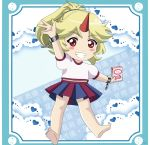 1girl alternate_hairstyle arms_up artist_name barefoot blonde_hair blue_background blue_border blush_stickers border box chain character_name chibi commentary cuffs doily eyebrows_visible_through_hair food fruit grin highres holding holding_box horn hoshiguma_yuugi long_hair looking_at_viewer milk_carton outstretched_hand pleated_skirt ponytail puffy_short_sleeves puffy_sleeves red_eyes remyfive shackles shirt short_sleeves skirt smile solo strawberry thick_eyebrows touhou translated two-tone_skirt white_shirt yin_yang younger