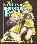 1boy 1girl badge bandaid bandaid_on_nose bangs bass_clef black_jacket black_shorts blonde_hair buruma commentary double_v full_body grin hair_ornament hands_up harusamesyota highres jacket kagamine_len kagamine_rin kneehighs kneeling legs_up looking_at_viewer open_mouth project_diva_(series) shoes short_hair short_ponytail short_shorts shorts siblings smile sneakers spiky_hair star star_print stylish_energy_(module) swept_bangs treble_clef twins two-tone_jacket v vocaloid w yellow_jacket