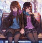 2girls absurdres akemi_homura bench black_hair blue_neckwear bow brown_eyes brown_hair coat hairband highres holding_hands huge_filesize jacket long_hair multiple_girls open_clothes open_coat otonashi_maria pink_neckwear scarf scarf_pull sitting skirt smile snow sweater utsuro_no_hako_to_zero_no_maria very_long_hair violet_eyes winter winter_clothes winter_coat
