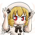 1girl avatar_icon beret blonde_hair bow bowtie chamaji chestnut_mouth commentary drill_hair eyebrows_visible_through_hair fairy fairy_wings hair_ribbon hat looking_at_viewer lowres luna_child red_eyes ribbon ribbon-trimmed_sleeves ribbon_trim short_hair signature solo touhou upper_body white_background wings