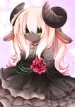 1girl animal_ears commentary_request detached_sleeves dress flower frilled_dress frills furry hakuari_(hina) horns lolita_fashion long_hair looking_at_viewer open_mouth original sheep sheep_ears sheep_girl sheep_horns shoulders solo white_hair yellow_eyes