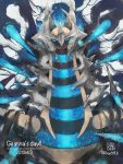 alternate_color blue_eyes blue_theme commentary_request creature dated gen_4_pokemon giratina giratina_(origin) highres kanna_(kan419_k) legendary_pokemon no_humans pokemon pokemon_(creature) shiny_pokemon signature solo