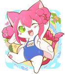 1girl :3 animal_ears azuma_minatsu blush cat cat_busters cat_ears cat_girl cat_tail clouds coconut commentary_request fang food fruit full_body furry green_eyes heart island long_hair neko_hakase_(cat_busters) ocean open_mouth palm_tree pawpads pink_hair rock school_swimsuit seashell shell sky slit_pupils solo swimsuit tail tree watermelon