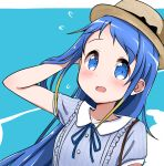 1girl alternate_costume bag bangs blonde_hair blue_background blue_eyes blue_neckwear blue_shirt blush collarbone collared_shirt commentary_request eyebrows_visible_through_hair flying_sweatdrops gradient_hair hand_in_hair hat kantai_collection long_hair looking_at_viewer multicolored_hair neck_ribbon open_mouth portrait ribbon samidare_(kantai_collection) shirt short_sleeves shoulder_bag sidelocks simple_background solo swept_bangs very_long_hair yokoshima_(euphoria)