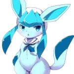 1girl blue_eyes blush commentary_request furry gen_4_pokemon glaceon hat kemoribon open_mouth pokemon sailor_collar sailor_hat simple_background solo white_background wide_hips