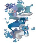 :d black_eyes blue_eyes brionne bubble commentary creature english_commentary fang full_body gen_7_pokemon highres looking_at_viewer no_humans open_mouth pinkgermy pokemon pokemon_(creature) popplio primarina smile transparent_background water