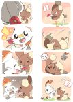 ! >_< ? ^_^ ^o^ azuma_minatsu blush buneary bunny_focus closed_eyes commentary_request fang flower gen_4_pokemon gen_8_pokemon holding holding_flower hopping pokemon rabbit scorbunny smile spoken_exclamation_mark spoken_question_mark sweatdrop tripping