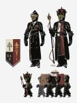 6+boys armor carrying coffin crown dated flower helmet highres holding holding_scepter meme multiple_boys original porforever scepter signature simple_background standing uniform walking white_background