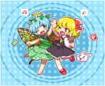 2girls antennae barefoot beamed_sixteenth_notes black_skirt black_vest blonde_hair blue_background blue_hair boned_meat butterfly_wings commentary_request dress eighth_note eternity_larva fang food full_body green_dress hair_ornament hair_ribbon hands_together hands_up holding holding_food kumamoto_(bbtonhk2) leaf_hair_ornament long_scarf looking_at_another lowres mallet meat multiple_girls musical_note one_eye_closed open_mouth pixel_art power-up rabbit red_eyes red_footwear red_neckwear red_ribbon ribbon rumia shirt short_hair skirt sleeves_past_wrists smile sparkle_background spoken_musical_note standing standing_on_one_leg touhou vest white_legwear white_shirt wings yellow_eyes