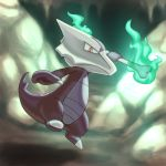 alolan_form alolan_marowak bone commentary creature english_commentary fire flame full_body gen_7_pokemon green_fire holding holding_bone no_humans pokemon pokemon_(creature) ruine_maniac_(artist) signature skull_helmet solo