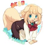1girl :d animal_ears blonde_hair blue_eyes blush bow bowtie commentary_request cowboy_shot dog dog_ears dog_girl dog_tail furry gem kishibe long_sleeves looking_at_viewer open_mouth original red_bow simple_background smile snout solo tail translation_request white_background
