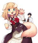 1boy 1girl animal_ears aqua_eyes blonde_hair blue_eyes blush book brooch cowboy_shot dog dog_ears dog_girl dog_tail fangs furry glasses holding holding_book jewelry kishibe labcoat long_hair long_sleeves looking_at_viewer necktie original pawpads simple_background snout tail white_background