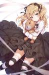 1girl bandages black_skirt blonde_hair boko_(girls_und_panzer) doll_hug girls_und_panzer hair_ribbon hairband long_hair long_skirt long_sleeves looking_at_viewer r_o_ha ribbon shimada_arisu shirt skirt solo striped striped_legwear stuffed_animal stuffed_toy teddy_bear thigh-highs two_side_up white_ribbon white_shirt yellow_eyes zettai_ryouiki