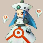 1girl alchera blue_hair commentary_request gloves long_hair open_mouth personification red_eyes rockman rockman_dash simple_background solo