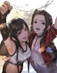 2girls aerith_gainsborough black_gloves black_hair bow braid breasts brown_hair choker copyright_name dress final_fantasy final_fantasy_vii final_fantasy_vii_remake fingerless_gloves gloves green_eyes highres large_breasts long_hair multiple_girls nuda open_mouth pink_bow pink_dress red_eyes sidelocks single_braid small_breasts suspenders teeth tifa_lockhart upper_body