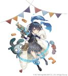 1girl alice_(sinoalice) blanket building_block dark_blue_hair eyebrows_visible_through_hair frilled_skirt frills full_body hairband ji_no looking_at_viewer nightmare_(sinoalice) official_art pocket_watch puffy_short_sleeves puffy_sleeves red_eyes short_hair short_sleeves sinoalice skirt solo square_enix stuffed_toy tattoo toy toy_car watch water_gun white_background younger