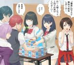 2boys 4girls aokonno box coronavirus_pandemic glasses hassu hibiki_yuuta highres indoors mask mouth_mask multiple_boys multiple_girls namiko queue school_uniform shinjou_akane speech_bubble ssss.gridman surgical_mask table takarada_rikka translated utsumi_shou