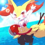 1girl ball beach beachball bikini braixen commentary_request fang furry gen_6_pokemon kemoribon ocean open_mouth poke_ball pokemon red_eyes solo stick sun swimsuit