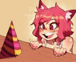 1girl animal_ear_fluff animal_ears cat_ears commentary english_commentary excited hat kollerss kollie_(kollerss) open_mouth original party_hat pink_eyes red_eyes red_nails smile solo whisker_markings