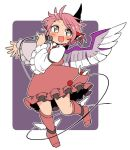 1girl animal_ears blush boots brown_dress brown_footwear commentary_request dress feathered_wings frills full_body grey_eyes hand_up holding holding_microphone ini_(inunabe00) jewelry long_sleeves looking_at_viewer microphone mystia_lorelei no_hat no_headwear open_mouth outstretched_arm pink_hair shirt short_hair single_earring smile solo sweat touhou white_shirt wide_sleeves winged_footwear wings