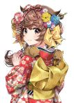 1girl absurdres animal animal_on_shoulder asa_no_ha_(pattern) blue_flower blue_rose blush boar bow brown_eyes brown_hair chinese_zodiac closed_mouth fingernails floral_print flower hair_bow hair_flaps hair_flower hair_ornament hair_stick hands_up highres japanese_clothes kanzashi kimono kouhaku_nawa long_hair looking_at_viewer looking_to_the_side morikura_en obi original own_hands_together print_kimono red_kimono rose sash scan smile solo upper_body year_of_the_pig