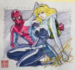 2019 blonde_hair comiket green_eyes gwen_stacy hairband hand_behind_head kikuchi_michitaka marker_(medium) marvel signature spider-gwen spider-man spider-man:_into_the_spider-verse spider-man_(series) stamp_mark superhero tongue tongue_out traditional_media