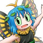 1girl antennae aqua_hair avatar_icon butterfly_wings chamaji commentary dress eternity_larva eyebrows_visible_through_hair fairy frilled_dress frills green_dress hair_ornament leaf leaf_hair_ornament leaf_on_head looking_at_viewer lowres multicolored multicolored_clothes outstretched_arms short_hair signature sleeveless smile solo touhou upper_body white_background wings yellow_frills