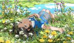1girl argyle_skirt barefoot black_hair blue_dress blue_eyes blue_shirt blue_skirt book braid bug butterfly buttons collared_dress collared_shirt dress eyelashes flower from_behind full_body grass hair_ribbon insect knees_up lying mole mole_under_eye on_back on_ground original outdoors parted_lips plant pond ribbon sasumata_jirou shirt short_hair short_sleeves side_braid skirt solo teeth thistle twitter_username water