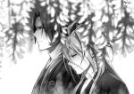 2boys antenna_hair blurry depth_of_field flower greyscale japanese_clothes male_focus monochrome multiple_boys nyagi profile sengo_muramasa_(touken_ranbu) smile tonbokiri_(touken_ranbu) touken_ranbu upper_body wisteria