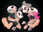1boy 1girl black_background black_wristband blue_eyes blue_hair commentary creature duskull english_commentary floating furrowed_eyebrows gen_3_pokemon ghost jaho-12 looking_at_viewer medium_hair one_eye_closed pink_eyes pink_hair pokemon pokemon_(creature) serious simple_background skull_hat team_skull team_skull_grunt team_skull_uniform uniform white_headwear