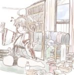 1girl ahoge book brown_hair cellphone chicken99 commentary_request couch curtains detached_sleeves double_bun eighth_note hairband headgear holding holding_phone japanese_clothes kantai_collection kongou_(kantai_collection) long_hair looking_at_phone messy_room musical_note phone ribbon-trimmed_sleeves ribbon_trim sitting soda_bottle solo tissue_box wariza water window