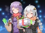 2girls apple bag baguette black_dress black_jacket blurry blurry_background box braid bread cabbage carrying_bag closed_eyes dress food fruit gift gift_box hair_ornament holding holding_box jacket kizuna_akari long_hair mittens multiple_girls orange_scarf parted_lips purple_dress purple_hair red_scarf scarf shidoh279 shopping_bag short_hair_with_long_locks sidelocks silver_hair smile spring_onion star star_print tomato twin_braids upper_body vocaloid voiceroid yuzuki_yukari