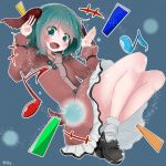 +++ 1girl :d animal_ears aqua_eyes aqua_hair artist_name bangs bare_legs black_footwear blue_background blush commentary_request dress eighth_note eyebrows_visible_through_hair full_body hands_up highres kasodani_kyouko loafers long_sleeves looking_at_viewer musical_note not_on_shana open_mouth shoes short_hair smile socks solo tail touhou white_legwear