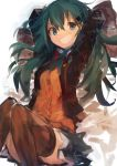 1girl :d absurdres arms_behind_head arms_up black_legwear blue_eyes commentary green_hair hair_ornament hairclip highres kaamin_(mariarose753) kantai_collection looking_at_viewer open_mouth simple_background sitting skirt smile suzuya_(kantai_collection) teeth thigh-highs v-shaped_eyebrows